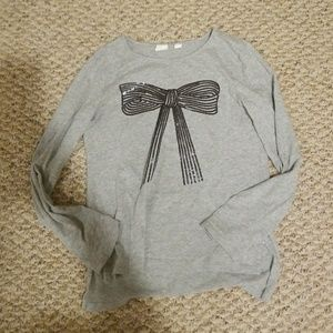 Gap kids sequin bow long sleeve tee size 12 xl